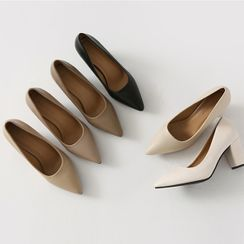 HOTPING - Pointy-Toe Block-Heel Pumps
