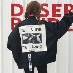 Robynn - Printed Back Bomber Jacket