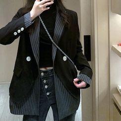 Nashe - 细条纹拼接西装外套