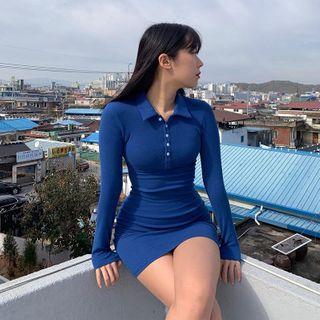 Cincine - Long-Sleeve Sheath Polo Shirt Dress