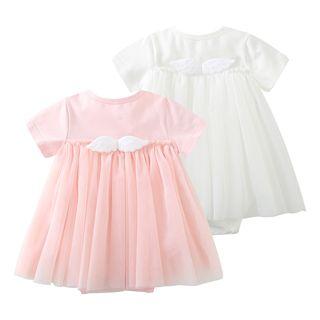 MOM Kiss - Baby Short-Sleeve Angel Wings Mesh Dress