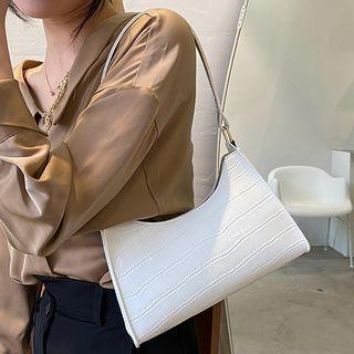 BAGuette - Croc Grain Faux Leather Shoulder Bag