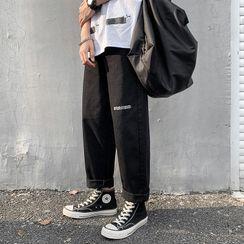 Odin King - 水洗字母直筒牛仔裤
