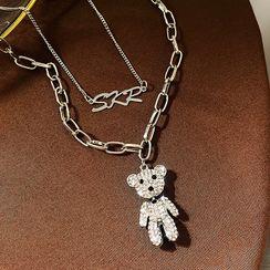 Catalunya - Rhinestone Bear Pendant Necklace