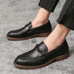 WeWolf - 编织边扭拧拼接仿皮乐福鞋