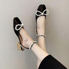 The Hoof - Faux Pearl Lace Block Heel Sandals