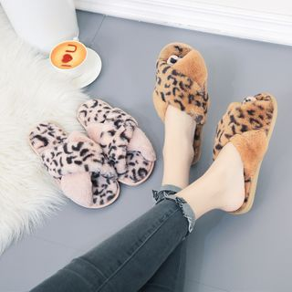 GRUNE - Fluffy Leopard Print Home Slippers