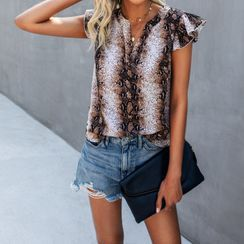 Cuis Cuis - Sleeveless Snake Skin Print Top
