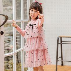 Meroboz - Kids Long-Sleeve Dotted Tiered Dress