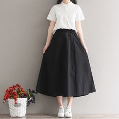 Sulis - High Waist Midi A-Line Skirt / Plain Short-Sleeve Blouse