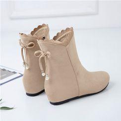 Lolita Tree - Bow Hidden Wedge Heel Short Boots