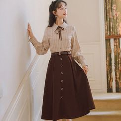 Retro Forest - Set: Bow Plaid Blouse + Belted Midi A-Line Skirt