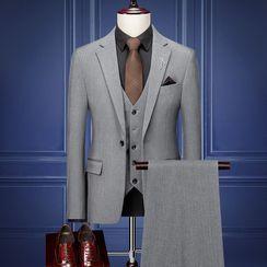Blueforce - Set: Plain Blazer + Button-Up Vest + Dress Pants