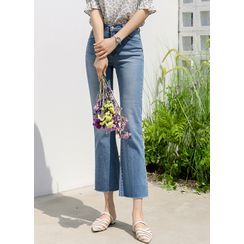Styleonme - Distressed Boot-Cut Jeans
