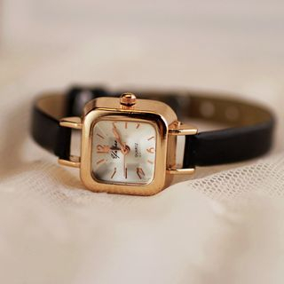 Teep - Retro Square Faux Leather Strap Watch
