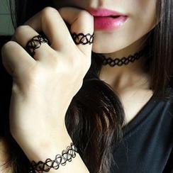 True Glam - 三件套: 貼脖項鏈 + 手鐲 + 戒指