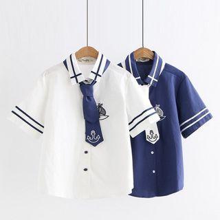 Mushijan - Short-Sleeve Embroidered Shirt