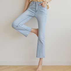 JUSTONE - Band-Waist Distressed Boot-Cut Jeans