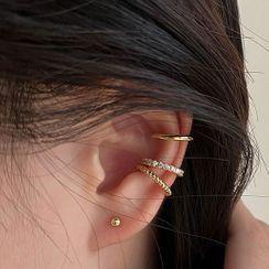 Hansha - 925 Sterling Silver Rhinestone Cuff Earring