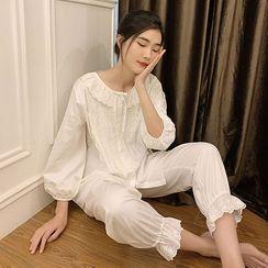PinkRosa - 3/4-Sleeve Lace Panel Pajama Set