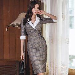 Hasu - 中袖格子铅笔连衣裙