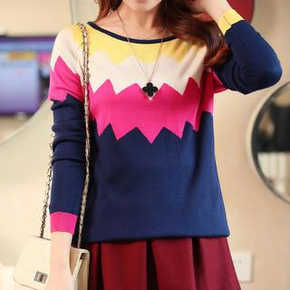 anzoveve - Zigzag Pattern Knit Top