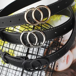 Rofuka - Faux Leather Double Hoop Buckle Belt