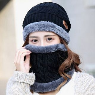 FROME - Set: Knit Fleece-lined Beanie + Scarf