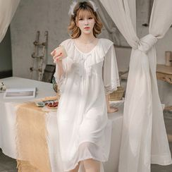 Ciambella - Lace Trim Elbow-Sleeve Pajama Dress