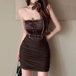 Dinse - Strapless Lace-Up Mini Sheath Dress