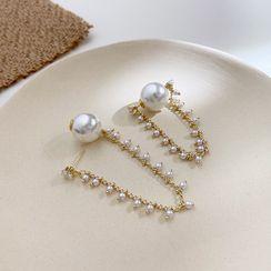 Infini - Faux Pearl Chain Earring