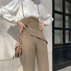 Attune - Puff-Sleeve Blouse / High-Waist Jumpsuit