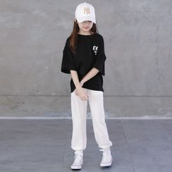 Cuckoo - Kids Elbow-Sleeve Lettering T-Shirt / Sweatpants