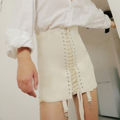 Smackthat - Lace Up Mini Fitted Skirt