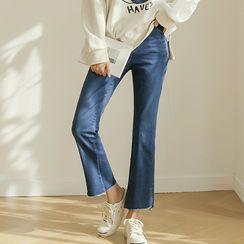 JUSTONE - Slit-Hem Semi Boot-Cut Jeans