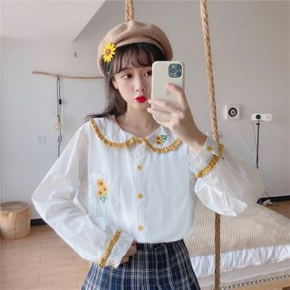 Honey Diary - Frill Trim Collared Sunflower Embroidered Blouse