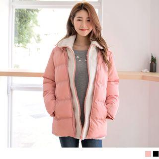 OrangeBear - 羽絨棉羊羔毛連帽假兩件外套