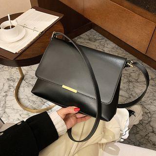 BAGUS - Faux Leather Flap Crossbody Bag