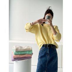 PPGIRL - Drop-Shoulder Colored Knit Top