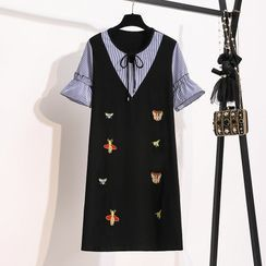SEPH - Mock Two-Piece Embroidered Short-Sleeve Shift Dress