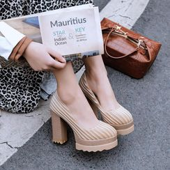 JY Shoes - Platform Chunky-Heel Velvet Pumps