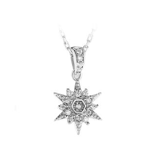 BELEC - 925 Sterling Silver Snowflake Pendant with White Austrian Element Crystal and Necklace