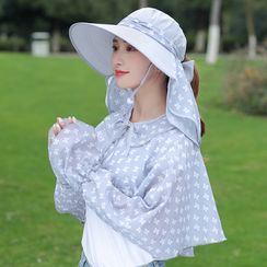 Kalamate - Set: Printed Sun Hat + Sun Protection Face Mask + Long-Sleeve Cape