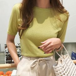 WITH IPUN - Colored Linen Blend T-Shirt