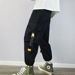 Chuoku - Snap Buckle Drawstring-Cuff Cargo Pants