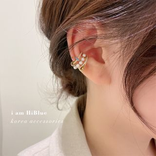 umi aoi - Faux Pearl Layered Cuff Earring