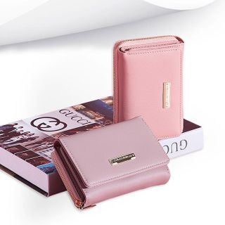 tablarosa - Plain Faux Leather Trifold Short Wallet