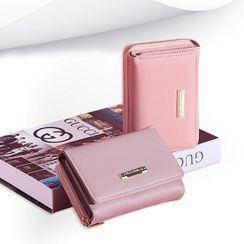 tablarosa(タブラロザ) - Plain Faux Leather Trifold Short Wallet