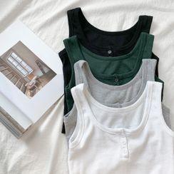Shira - 胸前三粒扣修身短款背心