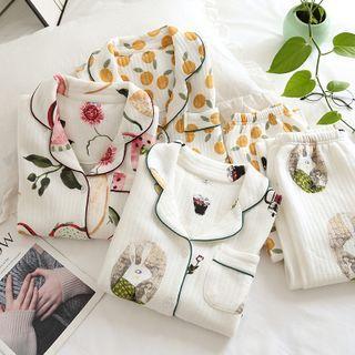 Somnus - Pajama Set: Printed Top + Pants